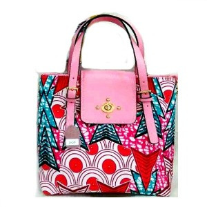 African Wax Print Top Handle Flap Satchel Pink 74.99